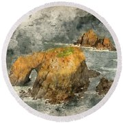 Watercolor Painting Of Stunning Sunrise Landscape Of Land's End In Cornwall England Round Beach Towel