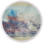Watercolor Painting Of Stunning Sunset Cloud Formation Over Calm Sea Landscape Round Beach Towel