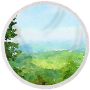 Watercolor Painting Of The English Countryside Round Beach Towel