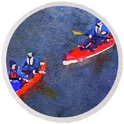 Watercolor Painting Of Two Canoes Round Beach Towel