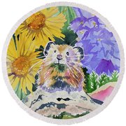 Watercolor - Pika With Wildflowers Round Beach Towel by Cascade Colors