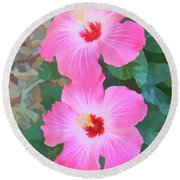 Watercolor Pink Hibiscus Blooms Vertical Round Beach Towel