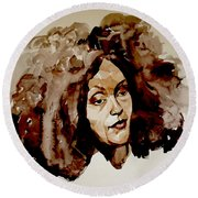 Watercolor Portrait Of A Woman With Bad Hair Day Round Beach Towel