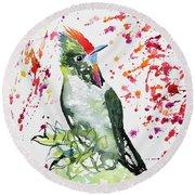 Watercolor - Rainbow Bearded Thornbill Round Beach Towel