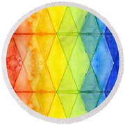 Watercolor Rainbow Pattern Geometric Shapes Triangles Round Beach Towel