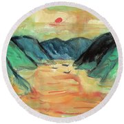Watercolor River Scenery Round Beach Towel