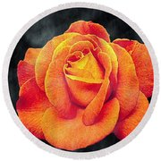 Watercolor Rose Round Beach Towel