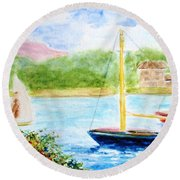 Watercolor Sail Round Beach Towel