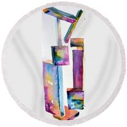 Watercolor Sculpture Round Beach Towel