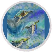 Watercolor - Sea Turtles Swimming Round Beach Towel