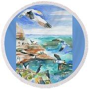 Watercolor - Seabirds Of The North Atlantic Round Beach Towel