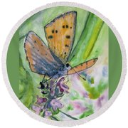 Watercolor - Small Butterfly On A Flower Round Beach Towel