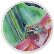 Watercolor - Small Tree Frog On A Colorful Flower Round Beach Towel