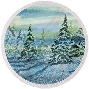 Watercolor - Snowy Winter Evening Round Beach Towel