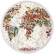 Watercolor Splashes World Map 2 Round Beach Towel