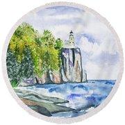 Watercolor - Split Rock Lighthouse Round Beach Towel