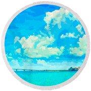 Watercolor Spring On Sarasota Bay Round Beach Towel