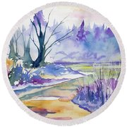 Watercolor - Stream And Forest Round Beach Towel