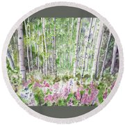 Watercolor - Summer Aspen Glade Round Beach Towel