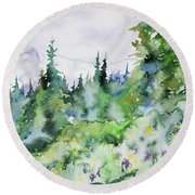 Watercolor - Summer In The Rockies Round Beach Towel