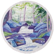 Watercolor - Summer Mountain Forest And Stream Round Beach Towel