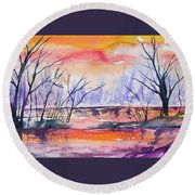 Watercolor - Sunrise At The Pond Round Beach Towel
