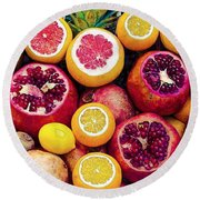 Watercolor Superfood Combo Round Beach Towel by Celestial Images