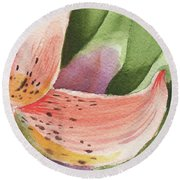 Watercolor Tiger Lily Dance Of Petals Close Up  Round Beach Towel