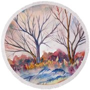 Watercolor - Trees And Woodland Meadow Round Beach Towel