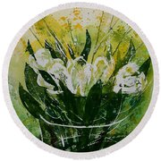 Watercolor Tulips Round Beach Towel
