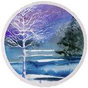 Watercolor - Winter Aspen Round Beach Towel