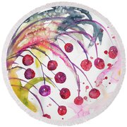 Watercolor - Winter Berry Abstract Round Beach Towel