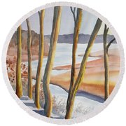 Watercolor - Winter Sunrise Round Beach Towel
