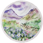 Watercolor - Yankee Boy Basin Landscape Round Beach Towel