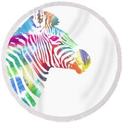 Watercolor Zebra Round Beach Towel