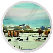 Watercolor_3514 Round Beach Towel