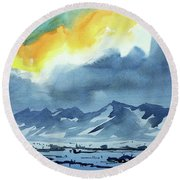 Watercolor3987 Round Beach Towel