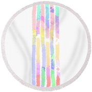 Watercolour Abstract Strips 2 Round Beach Towel