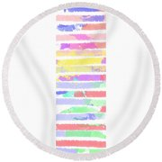 Watercolour Abstract Strips Round Beach Towel