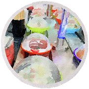 Watercolour Painting Of Sushi Dishes On The Belt Round Beach Towel