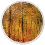 Watercolour Painting Of Vibrant Autumn Fall Forest Landscape Ima Round Beach Towel