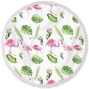 Watercolour Tropical Beauty Flamingo Family Round Beach Towel
