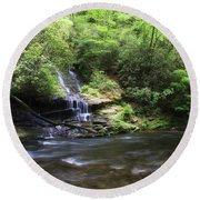 Waterfall And Mountain Creek Round Beach Towel