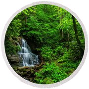 Waterfall And Rhododendron In Bloom Round Beach Towel