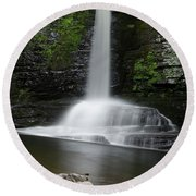 Waterfall At Childs Park Pa Round Beach Towel
