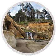 Waterfall At Hug Point State Park Oregon Round Beach Towel