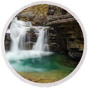 Waterfall At Johnston Canyon Round Beach Towel