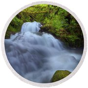 Waterfall At Shepperds Dell Falls Round Beach Towel
