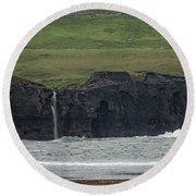 Waterfall At The Cliffs Of Moher Round Beach Towel