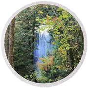 Waterfall Beyond The Trees Round Beach Towel